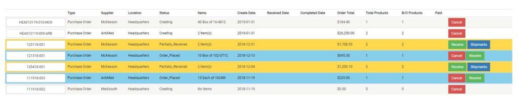 ArbiMed Inventory screenshot, order management screen